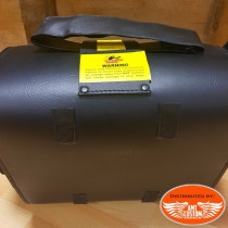 Black tek leather suitcase for sissy bar