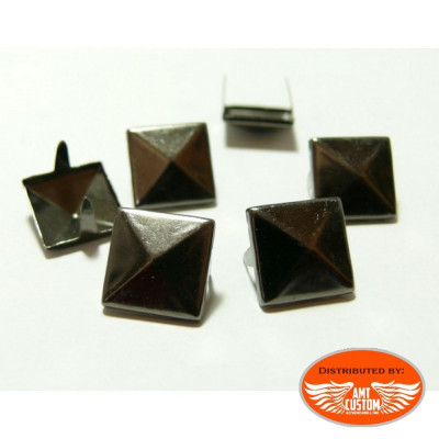 20 Black platinum studs nails 9mm pyramid