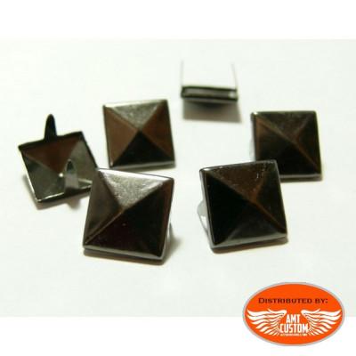 Lot de 20 rivets 9mm pyramide carré à griffe noire Platine