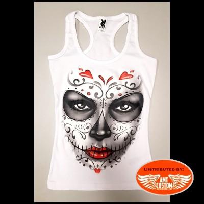 Débardeur blanc lady rider tête de mort mexicaine visage skull