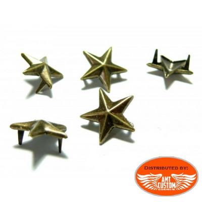 Lot de 20 rivets étoile bronze pour sacoches.