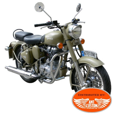 Royal Enfield Black or Chrome fat Engine guard fit Royal Enfield Bullet 500 & Classic