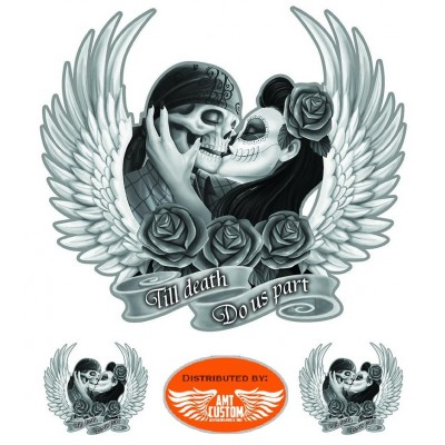 3 Stickers skull couple jusqu'à la mort