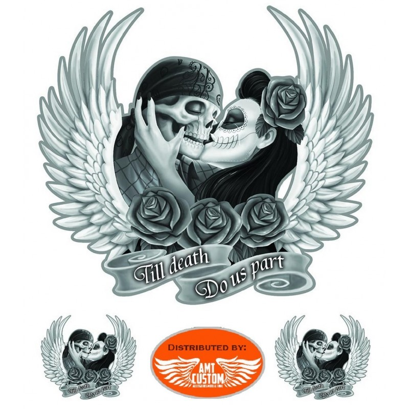 3 Stickers decal reaper girl Biker motorcycles