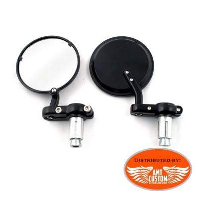 Rétroviseurs embout guidon Rond Noir pour guidon 22mm(7/8'') et 25mm (1'')