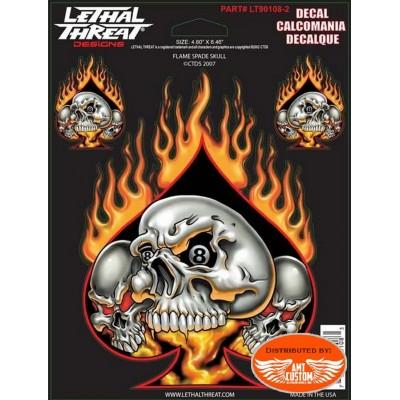 3 Stickers tête de mort as de pique enflammé