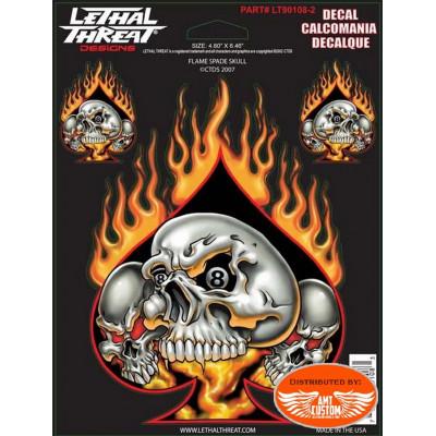 3 Stickers decal reaper girl Biker motorcycles