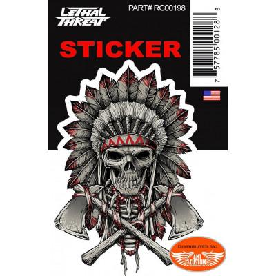 Sticker tête de mort indien