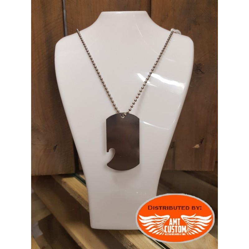 Necklace with pendant plate military bottle opener chrome