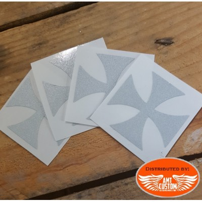 4 Stickers croix de malte casque moto rétro-réfléchissant