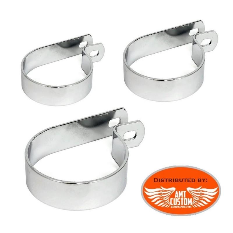 Colliers fixation échappement chrome P-clamps