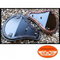 Installation Fixing Shiny brown leather solo seat custom / chopper