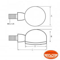 Dimension montage Mini Clignotants feu de position Avant LED Apollo Classic Noir Avant