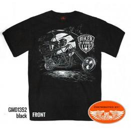 Black motorcycle biker tee shirt respect top hat
