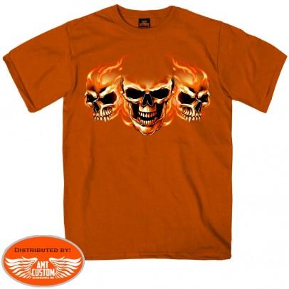 T-shirt Manches Courtes 3 Skulls Orange Texas