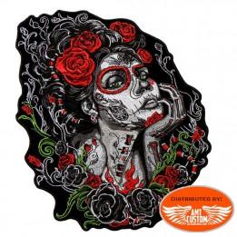 Patch écusson biker lady sugar skull