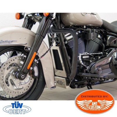 Softail 2018 (107/114) Pare-cylindre Noir pour Harley - Pare jambes - Pare Carter 38 mm