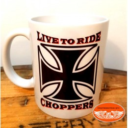 Ceramic biker mug iron cross live to ride choppers