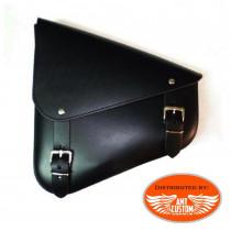 Black Leather swingarm bag triangular custom leather motorcycle studs