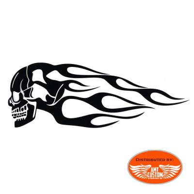 2-Stickers-Réservoir-Grand-format-Skull-Flammes-noirs