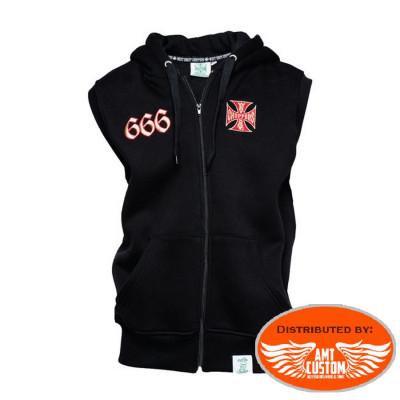 Sleeveless hoodie sweatshirt jacket chapel 666 biker West Coast Choppers