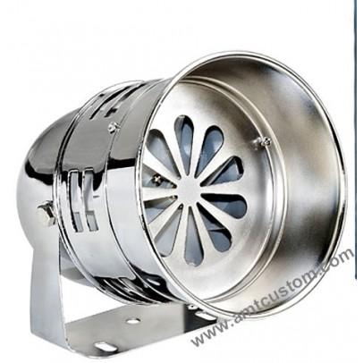 Sirène turbine chrome 12 v DC - Police US - moto Harley trikes horn