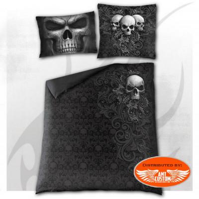 Bed linen skull scroll  - Duvet cover + pillowcases.