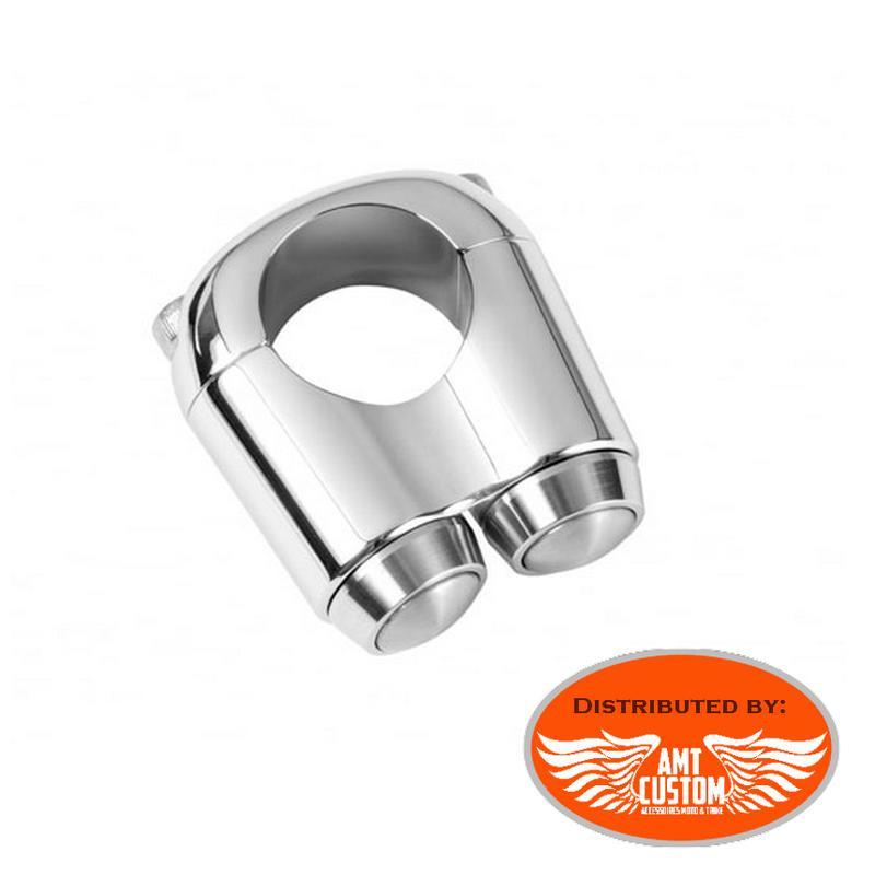 Bague 2 micro inter chrome guidon moto 22 ou 25mm - Extra plat Switch