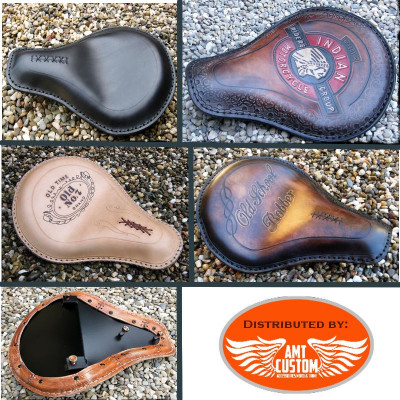 Indian Scout leather solo seat Bobbers