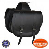 Sacoches cavalieres cuir noir universelles Bandit moto custom