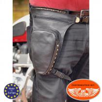 Leathers leg bag with chrome rivets