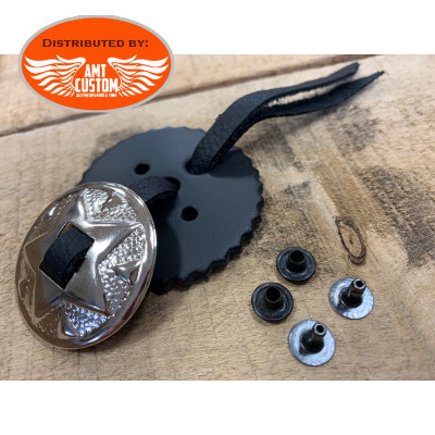 Concho star leather fringe