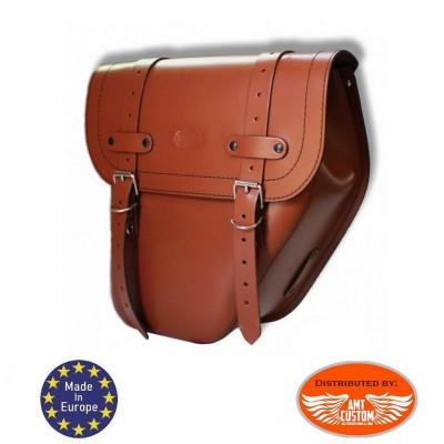 Sacoche latérale Universelle Droite cuir brun clair / Centurion