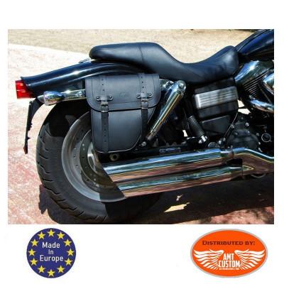 Sacoche latérale Universelle Droite cuir noir / Centurion montage sabre