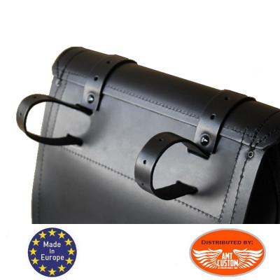 Fixation Sacoche latérale Universelle Droite cuir noir / Centurion