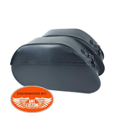 Saddlebags Set rigid Plain Real Leather 40 liters Suzuki C800 VL800