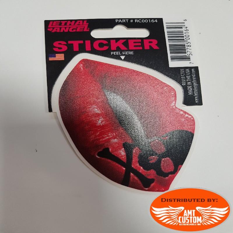 Sticker lèvres bouche baiser skull