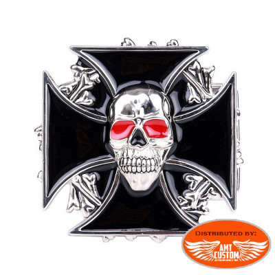 Red Eyes Skull Maltese Cross biker belt buckle