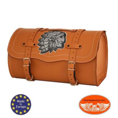 Camel Leather Top case Roll Bag Sissy bar Bag 25 liters Indian - key lock