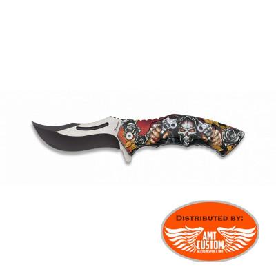 Couteau Pliable Tête de Mort Assassin