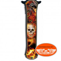 Couteau Pliable Tête de Mort Enflammée