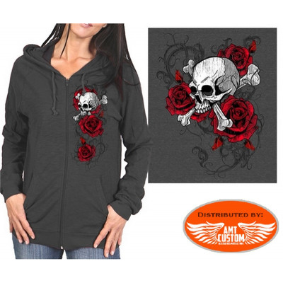 Lady Rider Skull Roses Hooded Jacket dark gray
