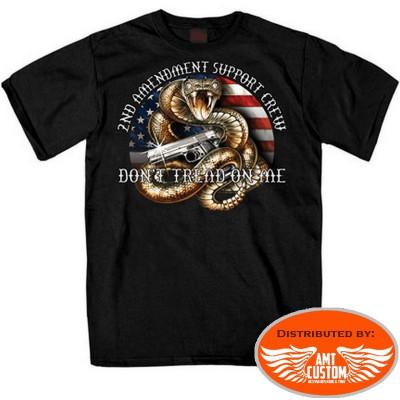 Biker T-shirt 2nd amendment support crew snake