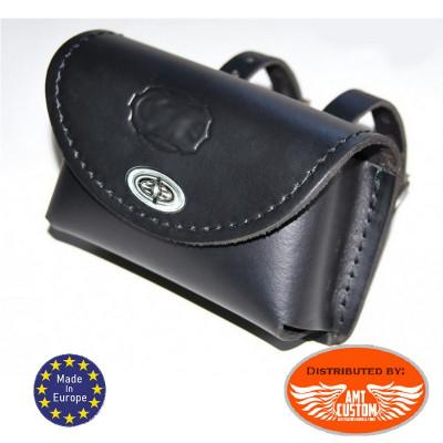 Black Leather universal bag Small Padlockable lock