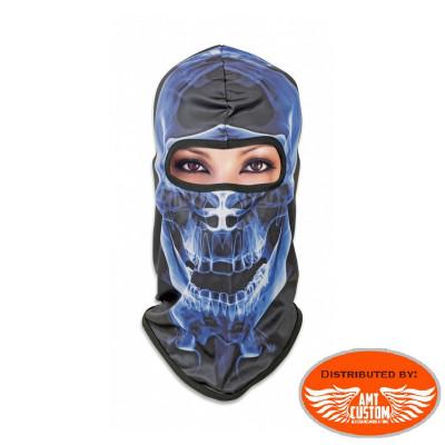 Black mask balaclava with blue jawbone blue skull