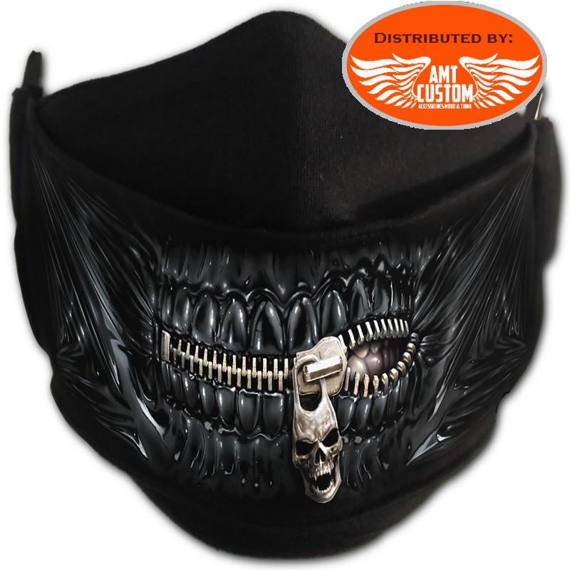 Skull zip shiny black teeth protection mask