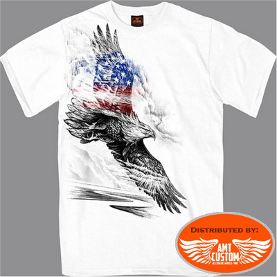 White MC Biker T-Shirt With USA Flag Flying Eagle