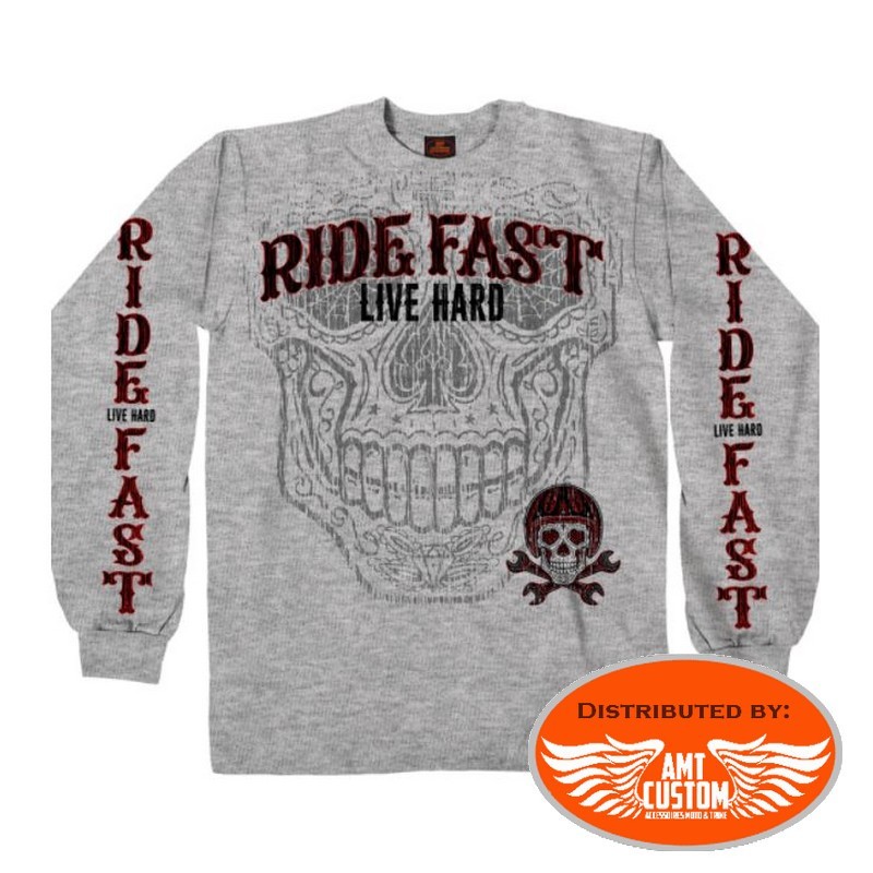 Polo Sweatshirt Gray Ride Fast Mexican Skull