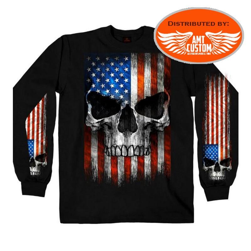 Polo Sweatshirt Black Skull USA Flag Patriot