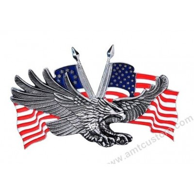 Emblème adhésif Aigle drapeau USA métal moto custom harley trike